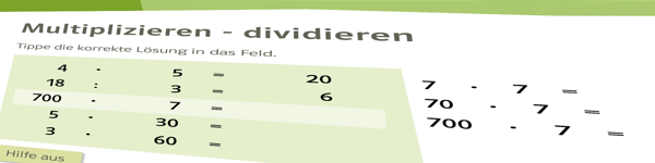 Rechentraining, Multiplikation - Division