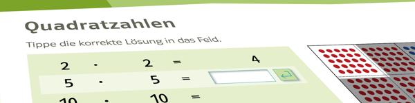 Rechentraining 5, Quadratzahlen