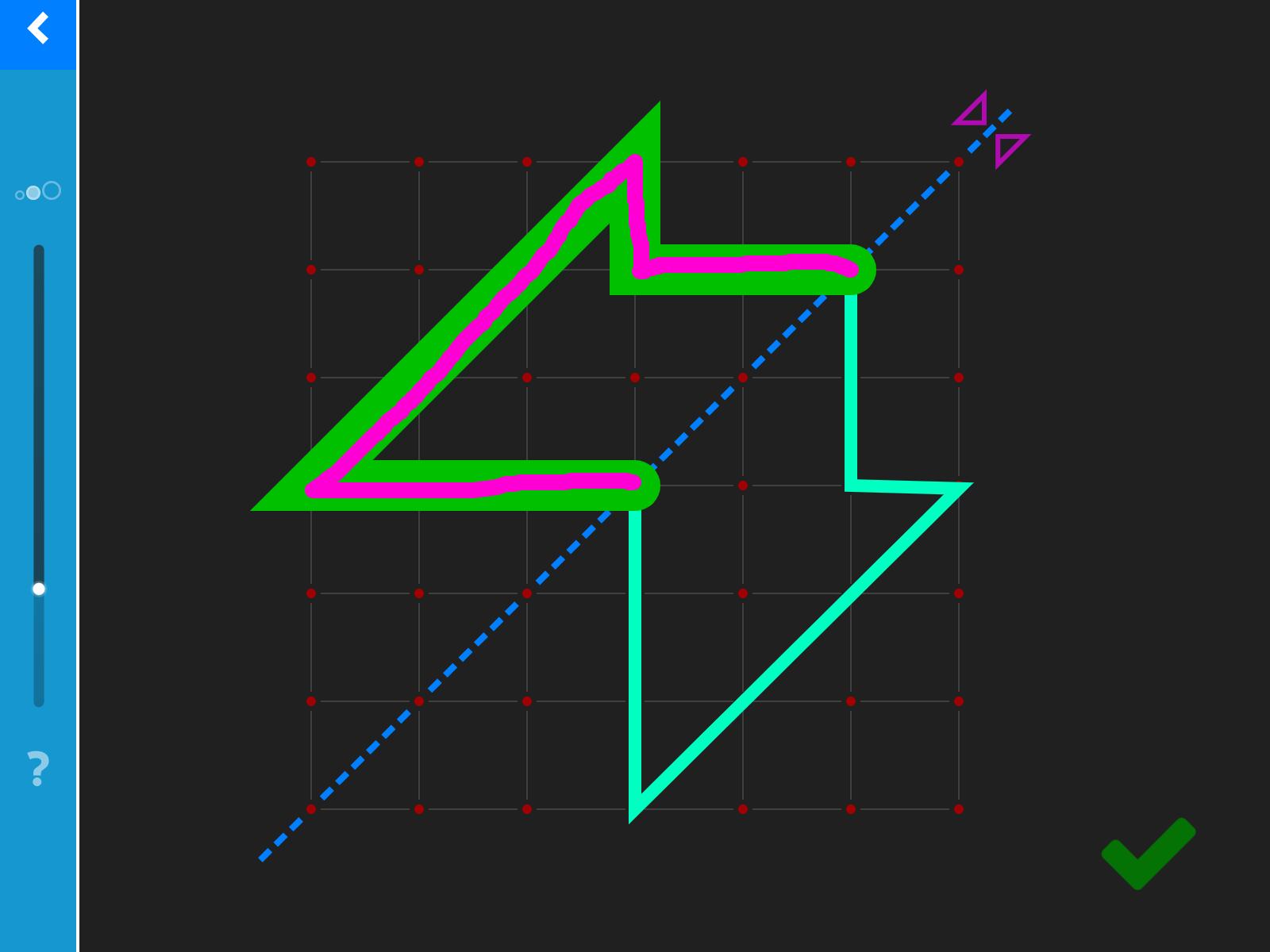 LOGO 7 – Spiegle eine Linie diagonal in einen Raster.