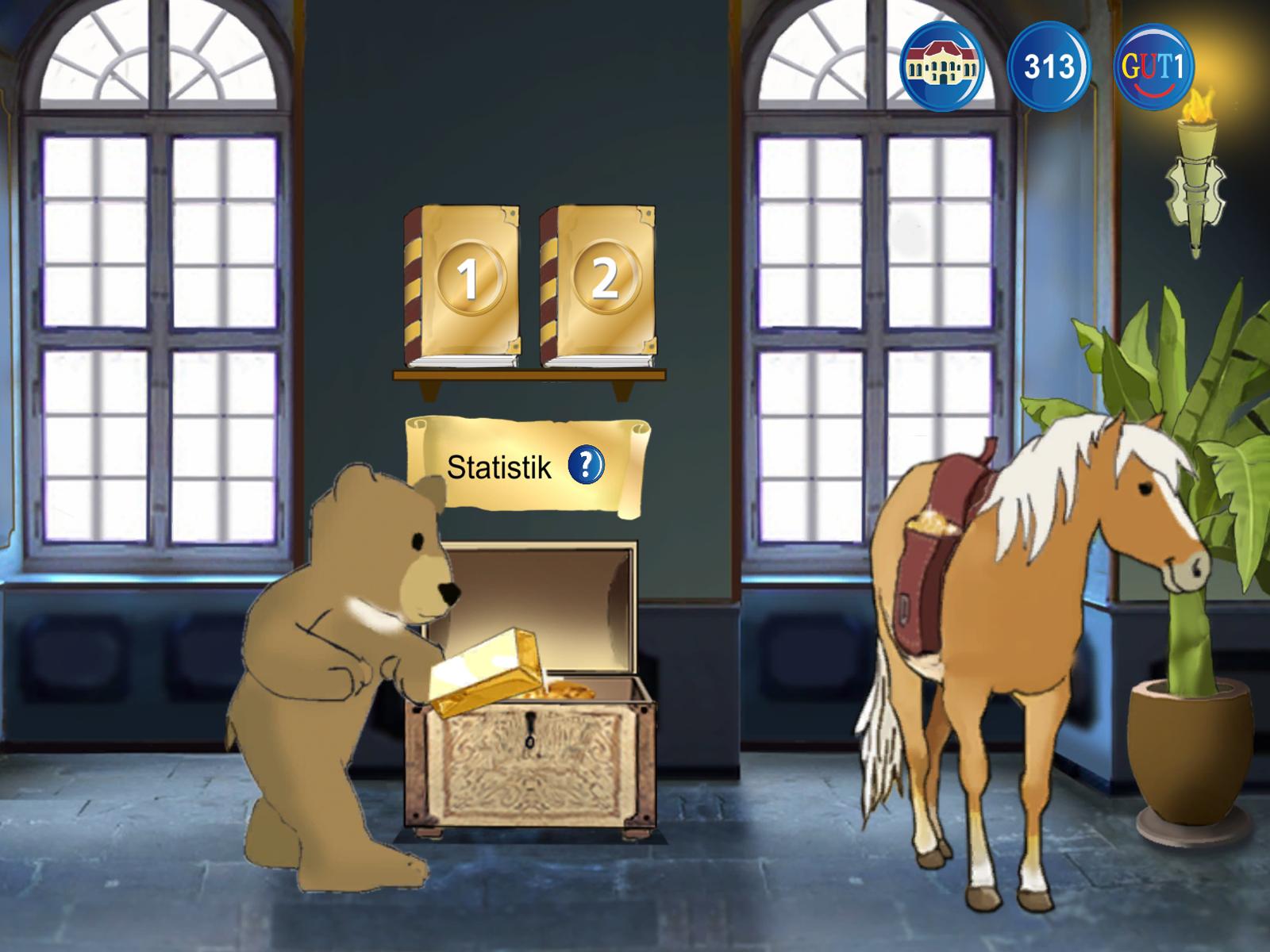 Das Pferd bringt die gelernten Wörter ins Schloss.