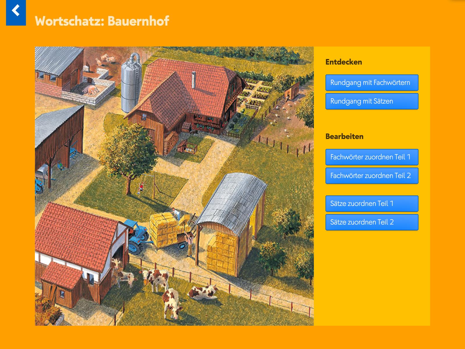 Wortschatztraining Bauernhof: Höre Fachwörter und Erklärungen und ordne sie zu.